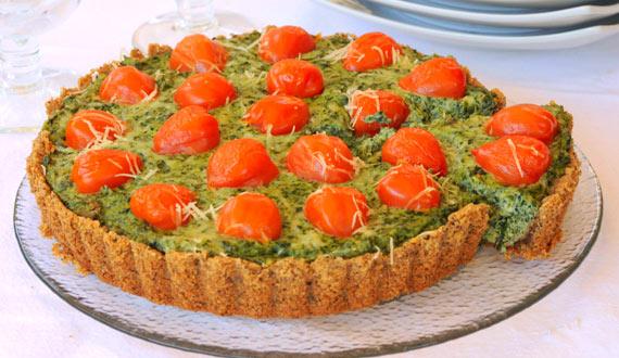 Tarta de Espinaca, Ricotta y Tomates