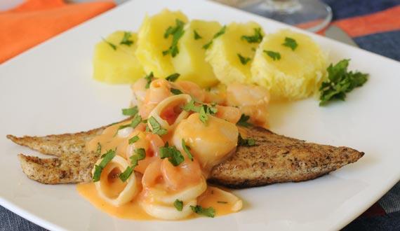 Pescado con salsa de mariscos gourmet - Platos gourmet con pescado ...