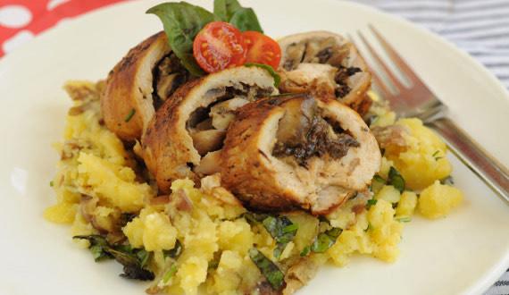 Puré Rústico y Pollo con Champiñones