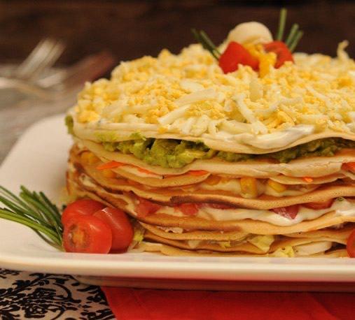 Receta torta de panqueques salada