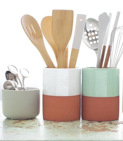 Porta utensilios terracota blanco gourmet for Utensilios de cocina gourmet