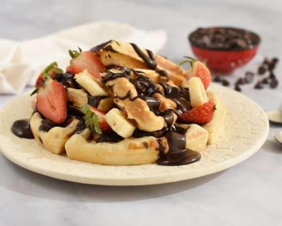 Waffles dulces con chips de chocolate